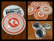 Large Sticker, (4) Coasters, (10) Bottle Caps